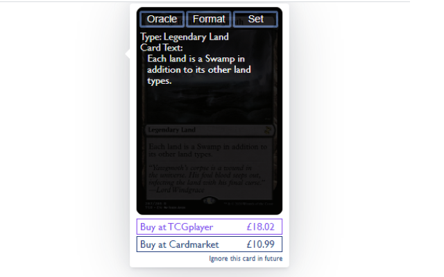 AutocardAnywhere Screenshot - Shows card prices, oracle text, format legality and sets right in the popup